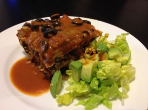 Enchilada Bake with simple salad