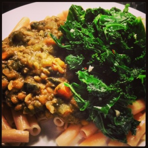Lentil Stew with Brown Rice Pasta and Garlicky Kale