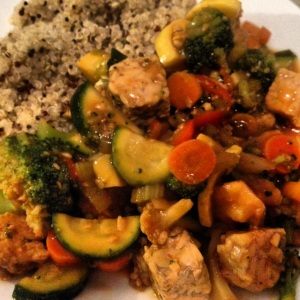 Tempeh Stir Fry with Tri-Colored Quinoa